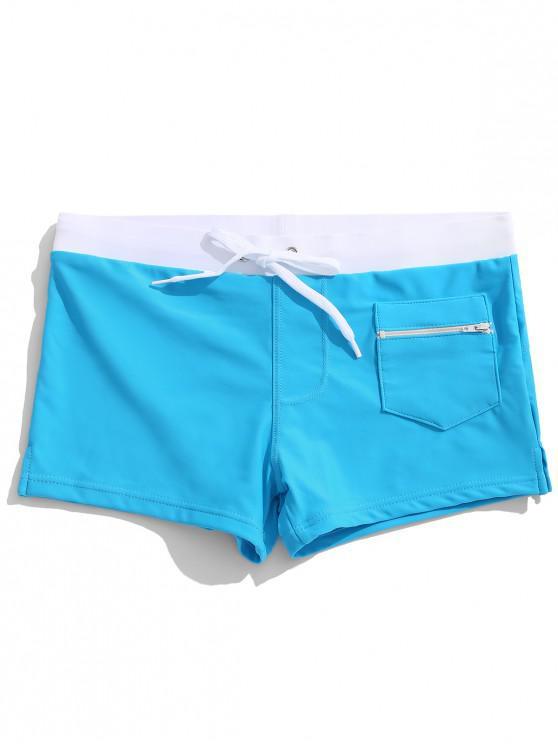 Calzoncillos de cremallera Bolsillo de color bloque de natación - Cielo Azul Oscuro XL