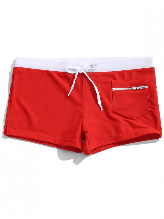 fashion Zipper Pocket Color Block Swimming Briefs - RED M
