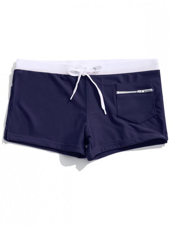 buy Zipper Pocket Color Block Swimming Briefs - CADETBLUE XL