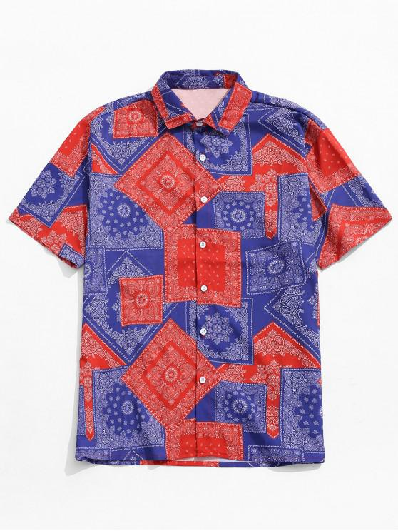 online Geometric Floral Print Short Sleeves Shirt - MULTI 2XL