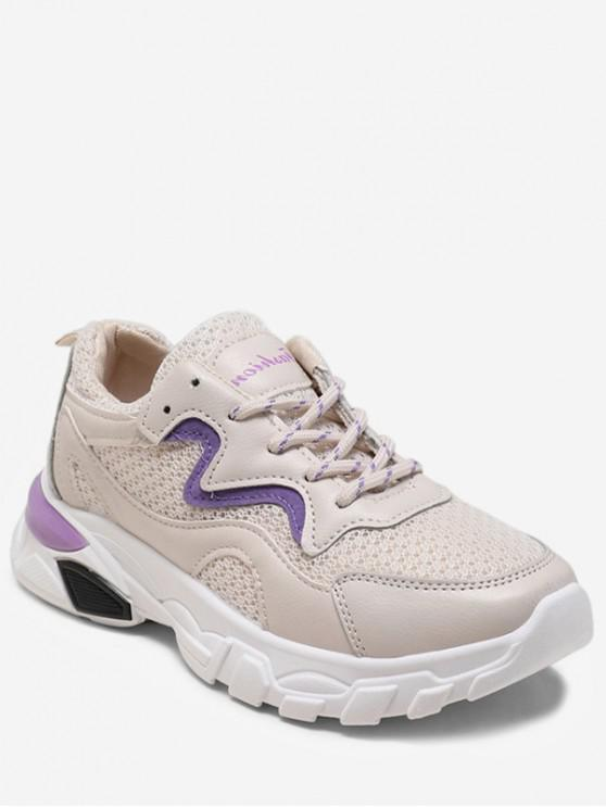 latest Lace-up Design Breathable Sneakers - PURPLE IRIS EU 40
