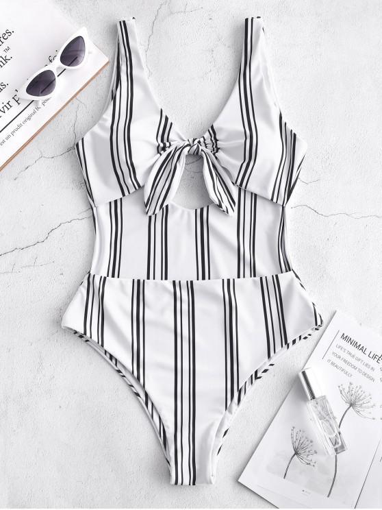 shops ZAFUL Tied Striped Monokini Swimsuit - MULTI-A XL