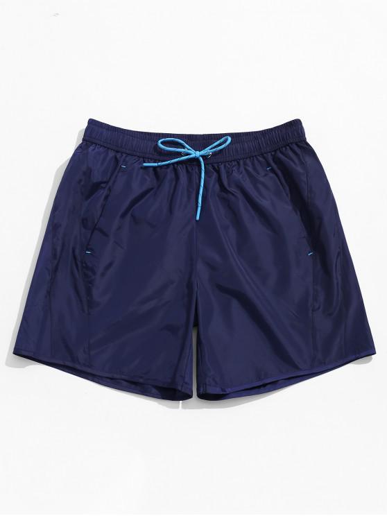 ladies Solid Color Drawstring Beach Shorts - DEEP BLUE 2XL