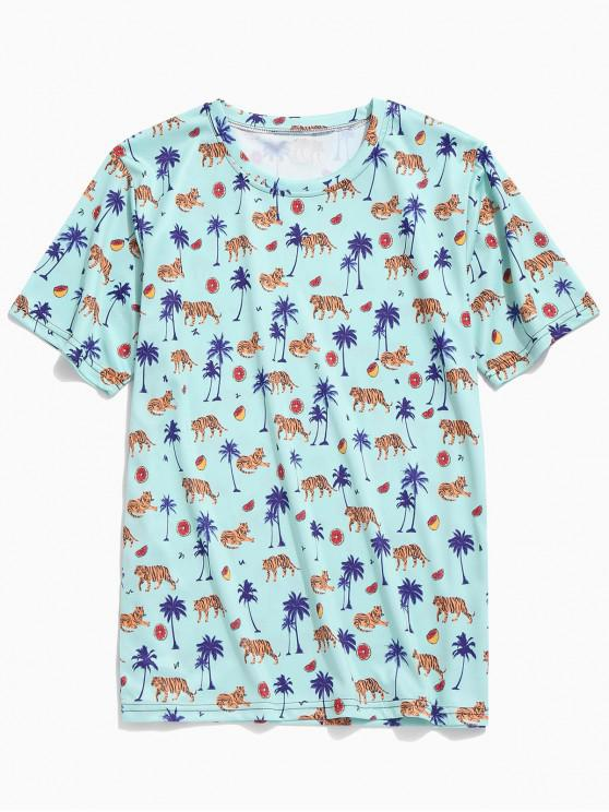 fancy Tiger Plant Fruit Print Casual Beach T-shirt - CORAL BLUE 2XL