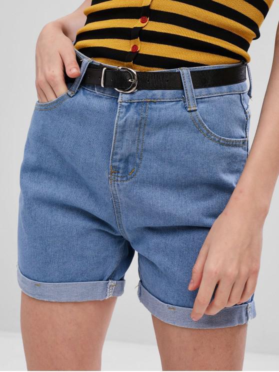 unique Light Wash Cuffed Jean Shorts - DENIM BLUE L