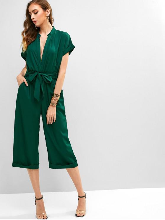 lady V Neck Cuffed Belted Wide Leg Jumpsuit - MEDIUM SEA GREEN S