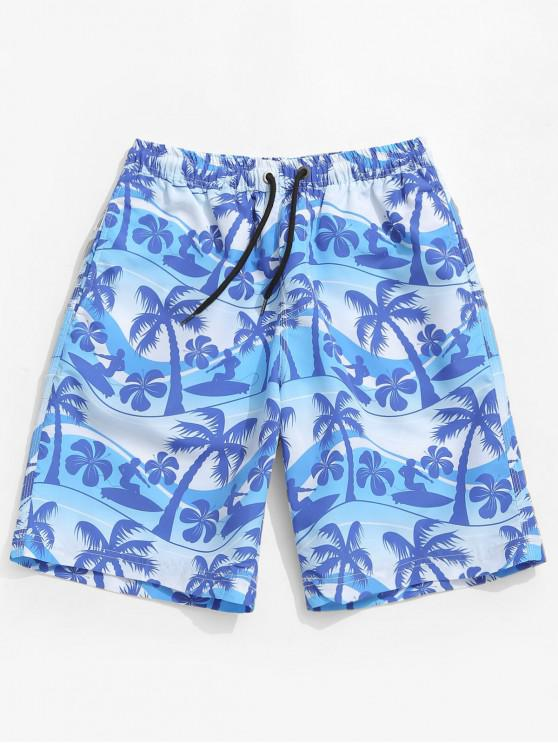 Shorts de tabla con estampado de plantas de Hawaii - Azul Cristal M