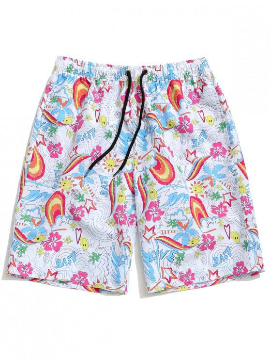 Pantalones cortos de playa con estampado de pintura colorida - Multicolor 2XL