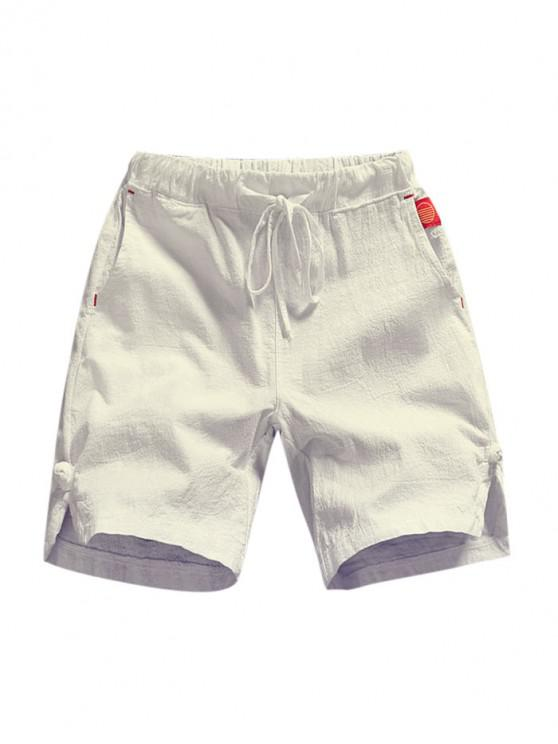 latest Solid Color Applique Casual Shorts - WHITE M