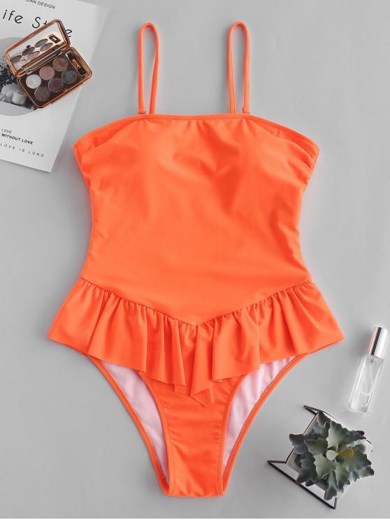 b6e179f509 22% OFF] 2019 ZAFUL Cami Tie Back Peplum Swimsuit In ORANGE | ZAFUL