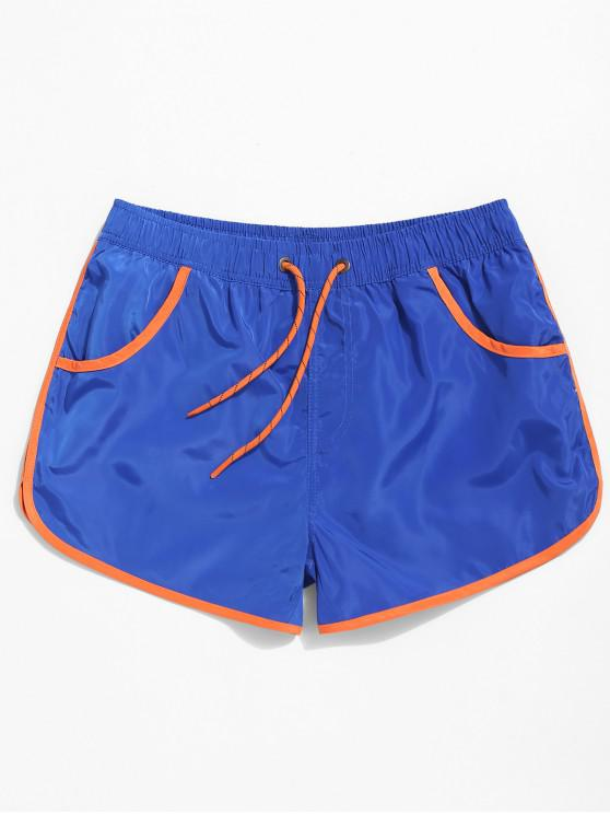 chic Color Block Hem Drawstring Brief Shorts - BLUE XL