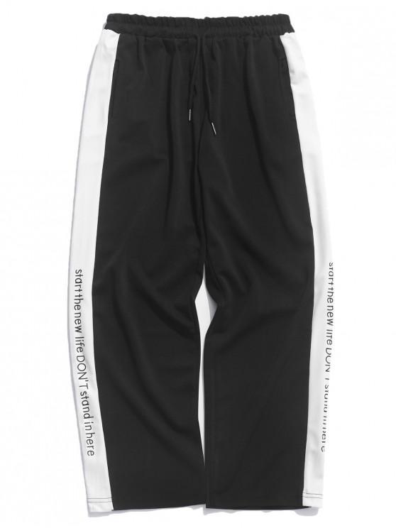 chic Letters Print Panel Pants - BLACK XL