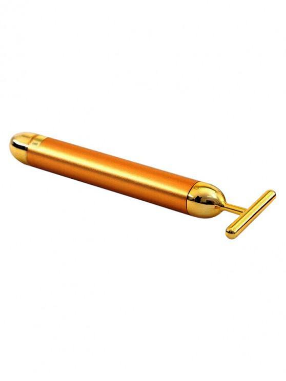 V Face Vibrating Gold T Stick Masaje Stick - Marrón Dorado