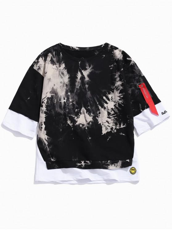 best Ink Painting Print Panel Faux Twinset T-shirt - BLACK M