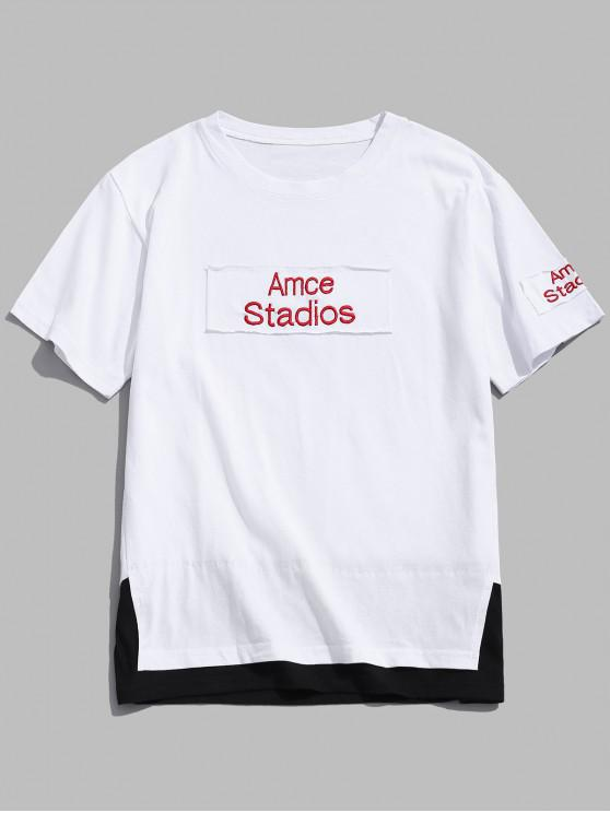shops Letters Print Patchworks Faux Twinset T-shirt - WHITE 2XL