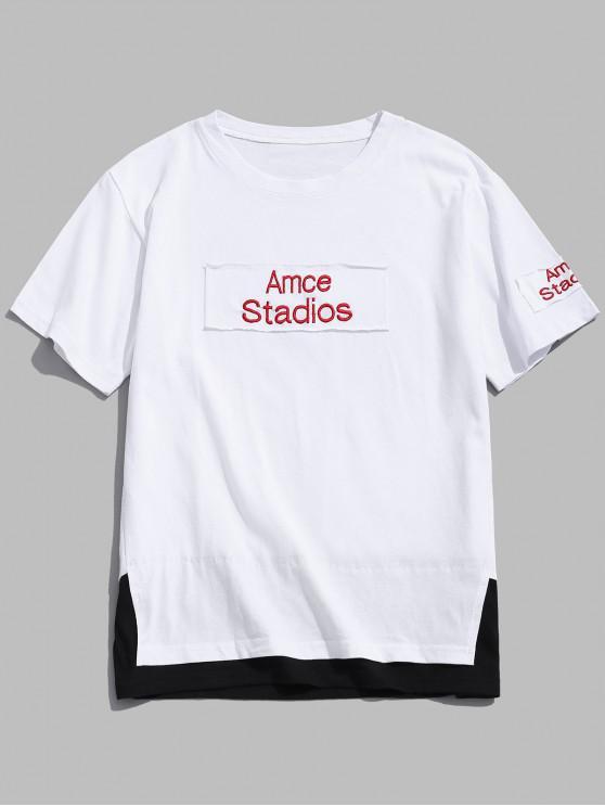 T-shirt Lettre Imprimée Jointif Fausse Deux Pièces - Blanc 4XL