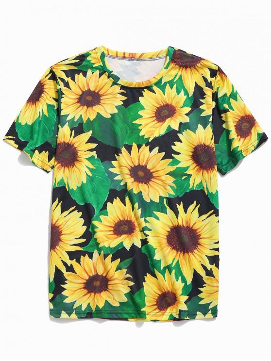 best Allover Sunflowers Print T-shirt - MUSTARD L