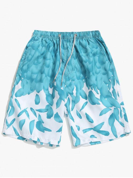 Feathers Print Drawstring Shorts de playa - Turquesa Mediana XS