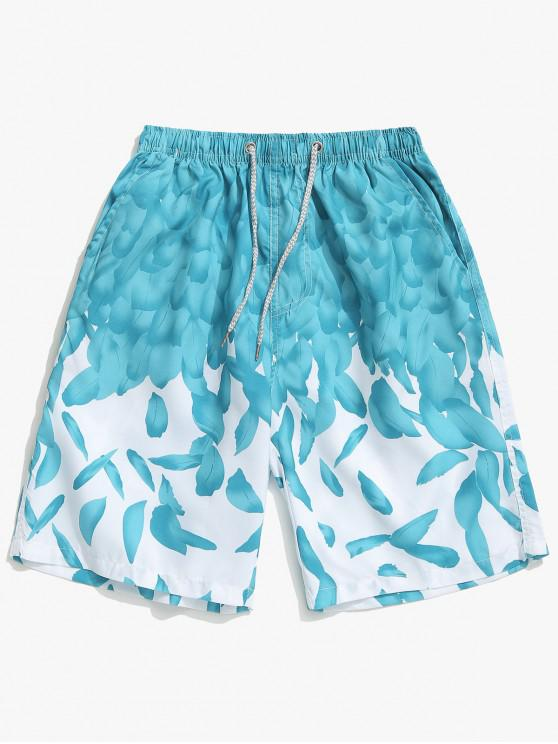 unique Feathers Print Drawstring Beach Shorts - MEDIUM TURQUOISE L