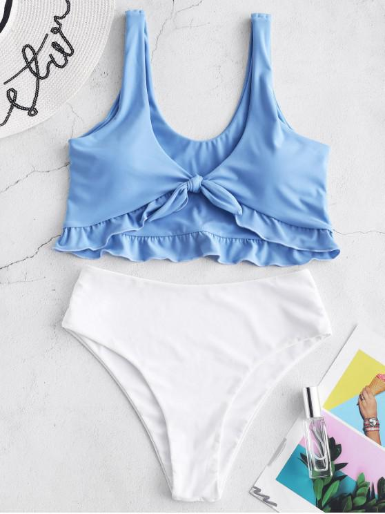 sale ZAFUL Tied Ruffle Color Block Tankini Set - DAY SKY BLUE S