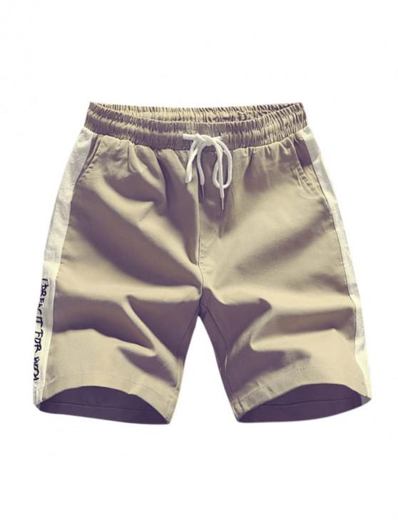 buy Letters Print Two Tone Panel Shorts - LIGHT KHAKI XS
