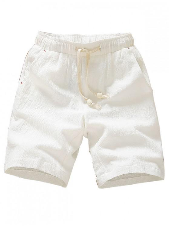 ladies Elastic Solid Color Drawstring Shorts - WHITE XS
