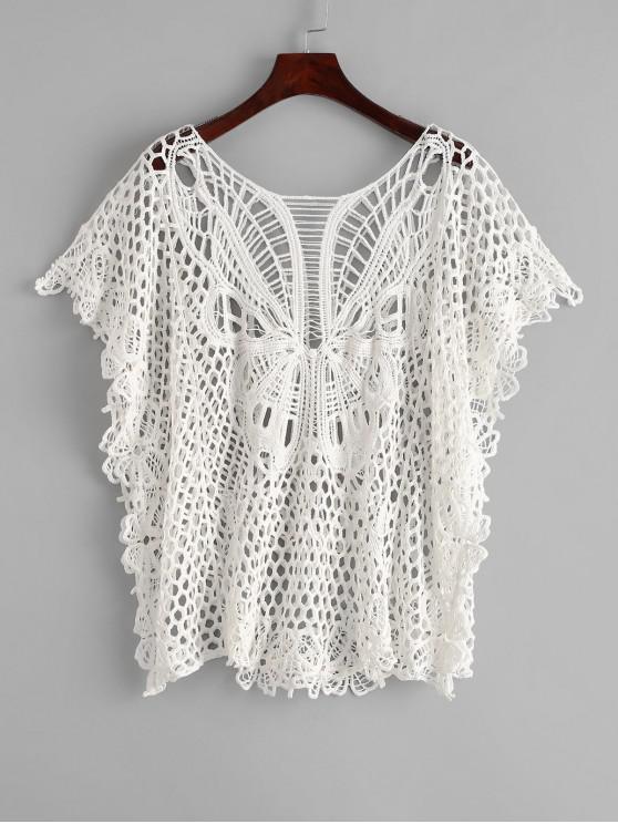 Mariposa Crochet Kaftan - Blanco Talla única