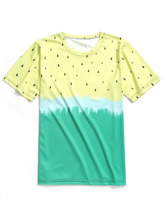 Camiseta casual con estampado teñido anudado de sandía - Crema 2XL
