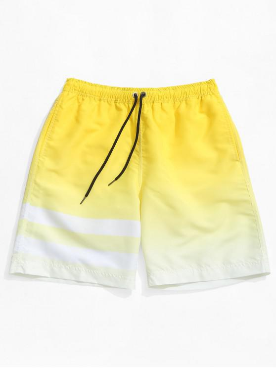 women Ombre Striped Print Hawaii Beach Shorts - YELLOW L