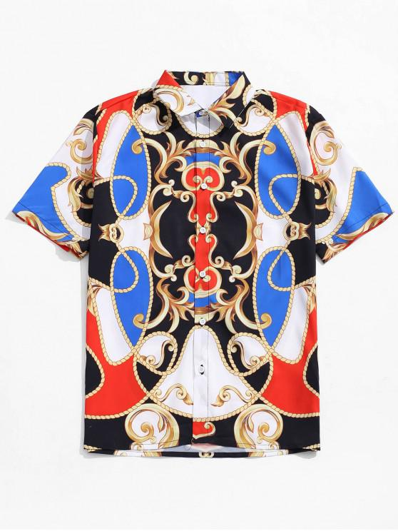 outfits Chinese Opera Mask Print Short Sleeves Shirt - MULTI 2XL