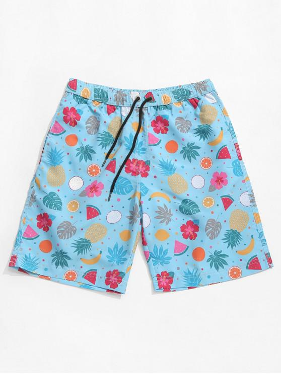 ladies Floral Fruit Print Hawaii Board Shorts - SEA BLUE 2XL