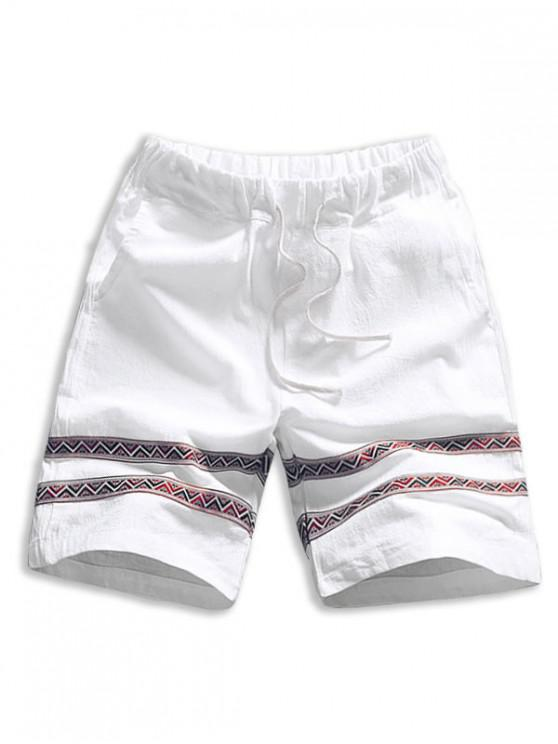 shop Tribal Print Splicing Casual Shorts - WHITE L