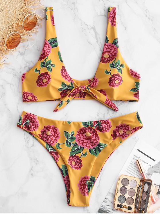 latest ZAFUL Tied Floral Padded Tank Bikini Set - BRIGHT YELLOW L