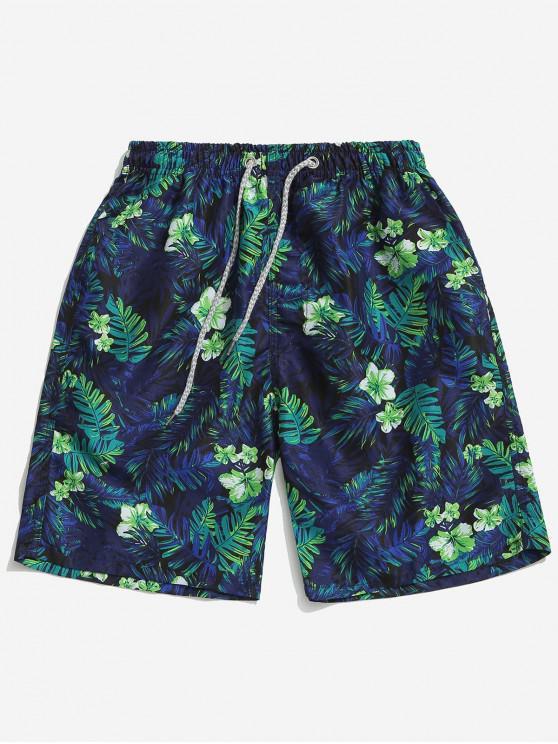 ladies Floral Plant Leaves Print Beach Shorts - CADETBLUE M