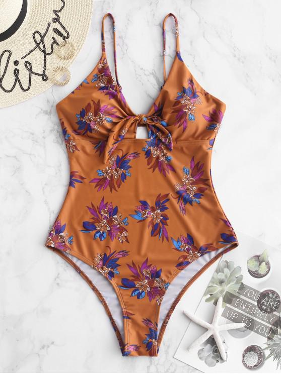 chic ZAFUL Floral Cami Tied Swimsuit - RUST XL