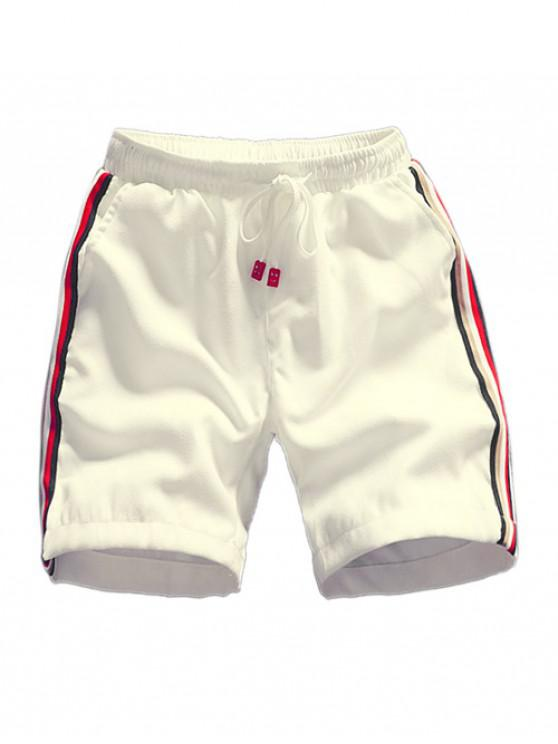 affordable Striped Splicing Applique Drawstring Shorts - WHITE XS