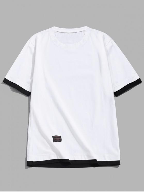 Camiseta de manga corta con paneles de bloques de color de Applique - Blanco L