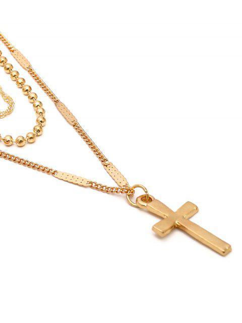 Многослойное Ожерелье Подвеска креста - Золотой  Mobile