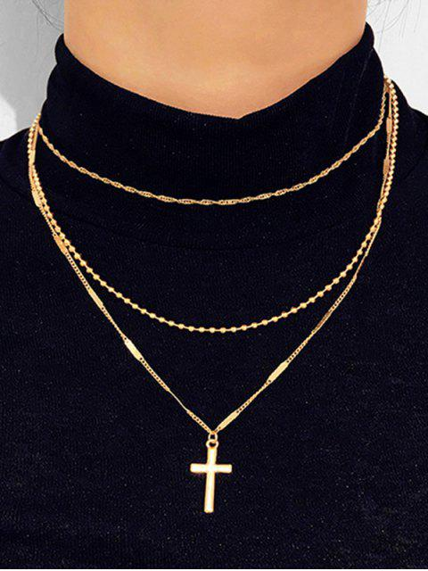 lady Cross Pendant Layered Necklace - GOLD  Mobile