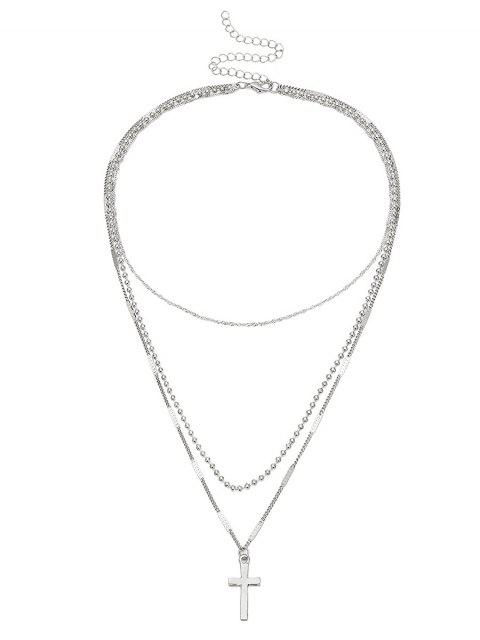 online Cross Pendant Layered Necklace - SILVER  Mobile