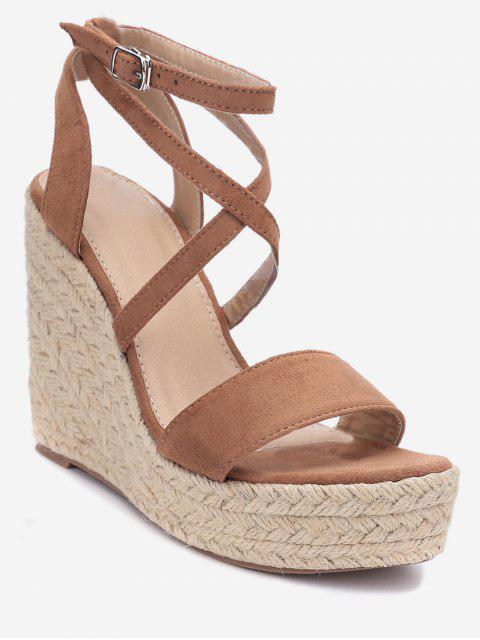 womens Cross Wedge High Heel Gladiator Sandals - LIGHT BROWN EU 37 Mobile