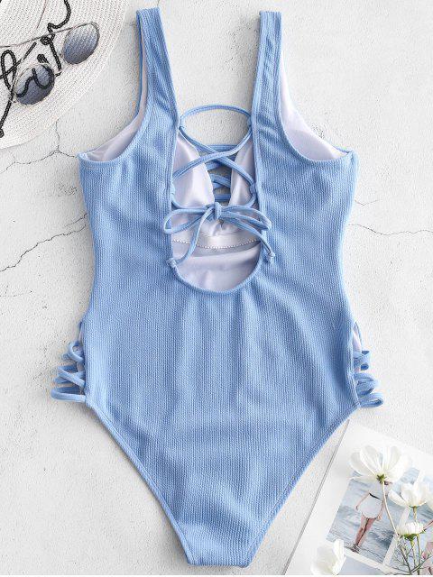 ZAFUL羅紋Criss交叉泳衣 - 牛仔布藍色 XL Mobile