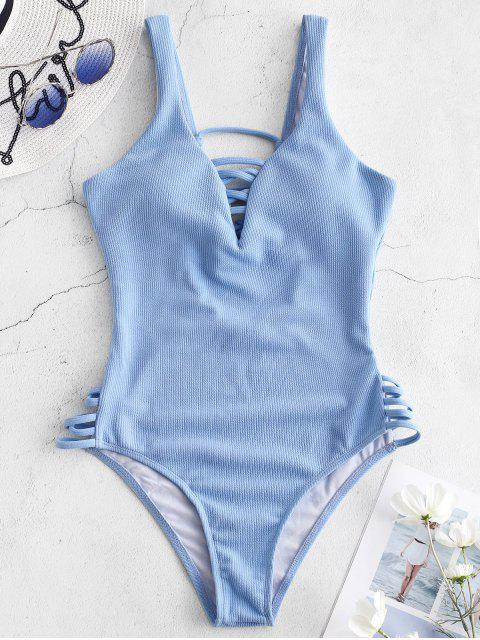 outfit ZAFUL Ribbed Criss Cross Swimsuit - DENIM BLUE XL Mobile