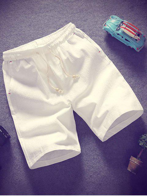 online Elastic Solid Color Drawstring Shorts - WHITE L Mobile