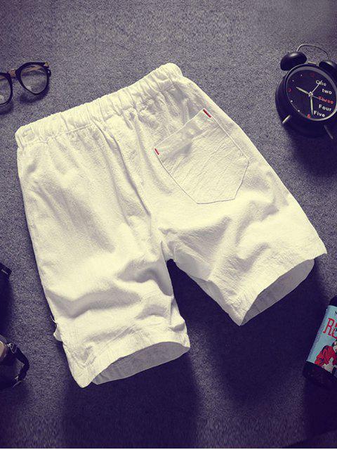 Pantalones cortos de apliques de color sólido - Blanco M Mobile