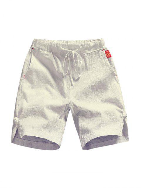 Pantalones cortos de apliques de color sólido - Blanco L Mobile
