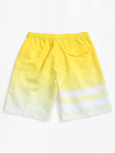 ladies Ombre Striped Print Hawaii Beach Shorts - YELLOW 2XL Mobile