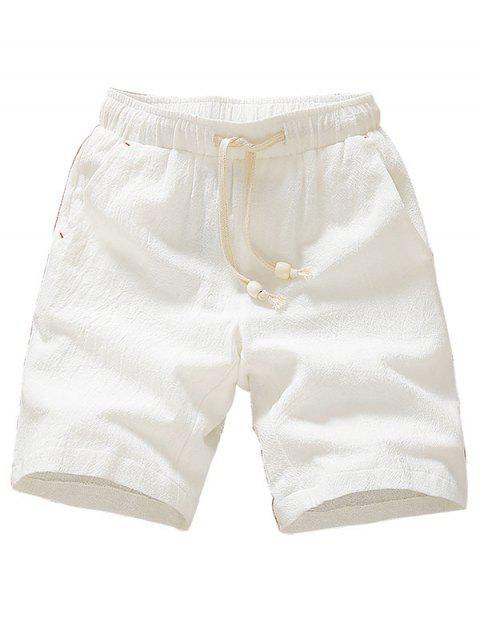 Shorts elásticos de cordón de color sólido - Blanco M Mobile