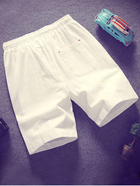 Shorts elásticos de cordón de color sólido - Blanco L Mobile