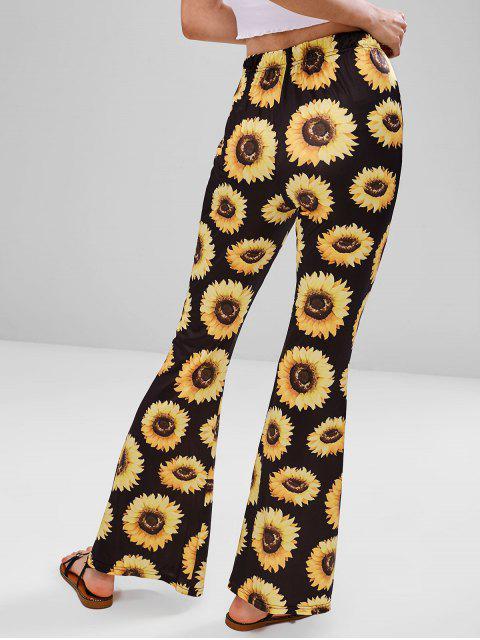 shops Sunflower Print Flare Bottom Pants - BLACK L Mobile